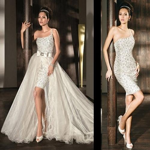 Vestidos de novia largos que se hacen cortos